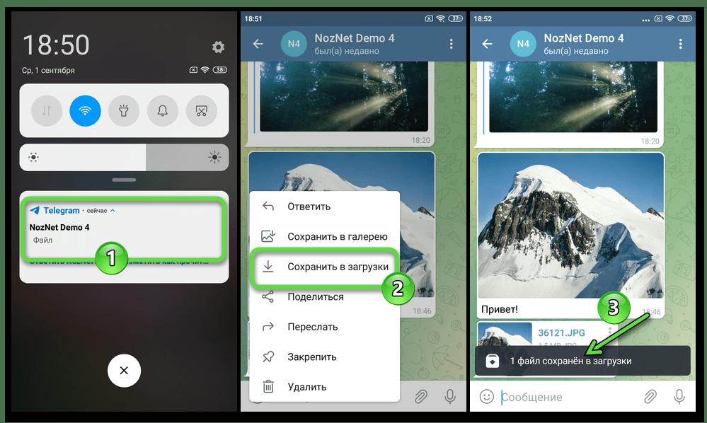 Telegram для Android скачивание отправленной без сжатия фотографии из мессенджера в память устройства