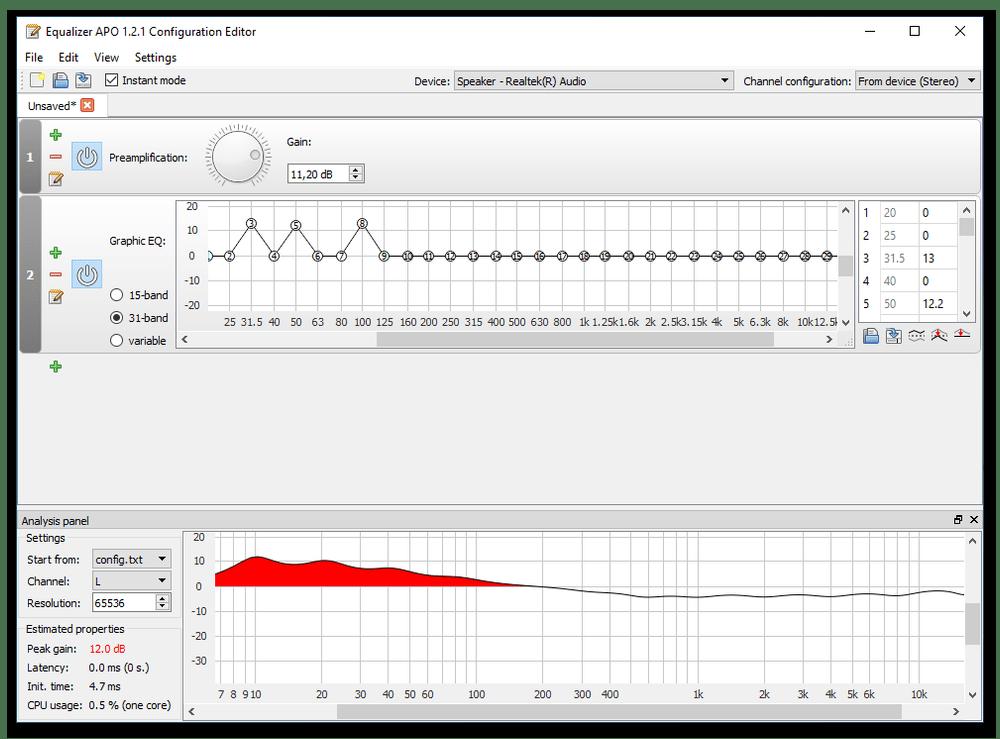 Увеличение громкости звука с помощью Equalizer APO