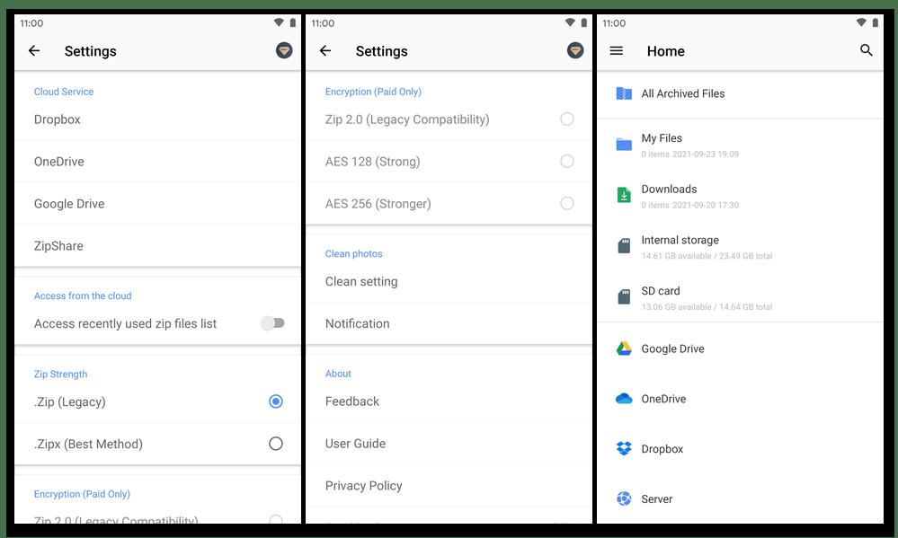 WinZip для Android - Настройки приложения представление данных в нём