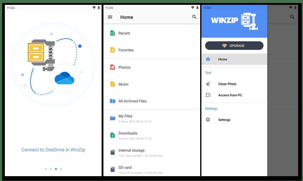 WinZip для Android - запуск приложения, главный экран архиватора, главное меню