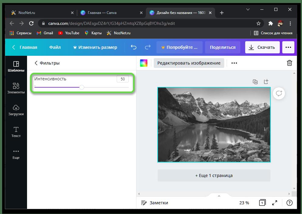 Интенсивность фильтра для преобразования цветной фотографии в черно белую в онлайн-сервисе Canva