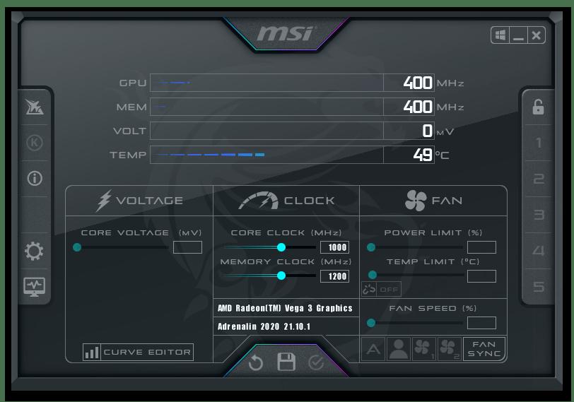 Окно программы MSI Afterburner
