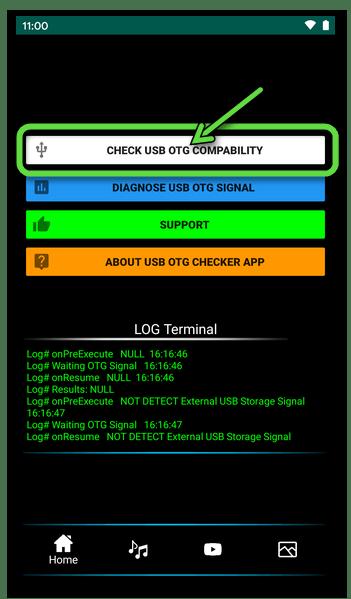 USB OTG Checker для Android - запуск проверки смартфона на предмет поддержки технологии On-The-Go
